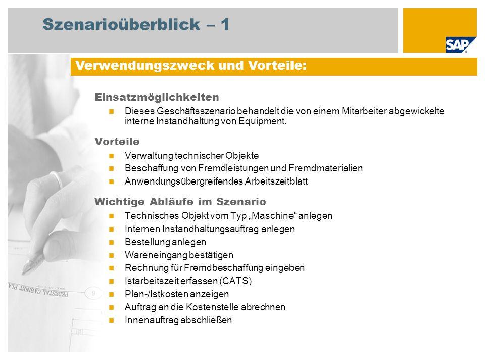Szenarioüberblick – 2 Erforderlich SAP enhancement package 4 for SAP ERP 6.0 An den Abläufen beteiligte Benutzerrollen Mitarbeiter in der Wartung Einkäufer Lagermitarbeiter Kreditorenbuchhalter 1 Erforderliche SAP-Anwendungen: