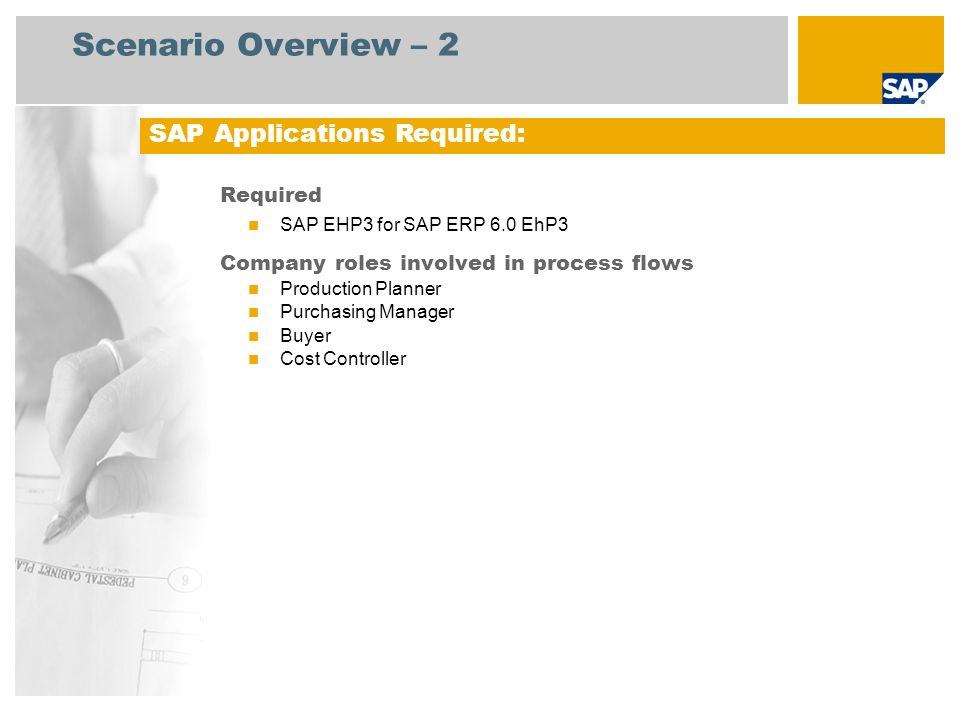 Scenario Overview – 2 Required SAP EHP3 for SAP ERP 6.0 EhP3 Company roles involved in process flows Production Planner Purchasing Manager Buyer Cost