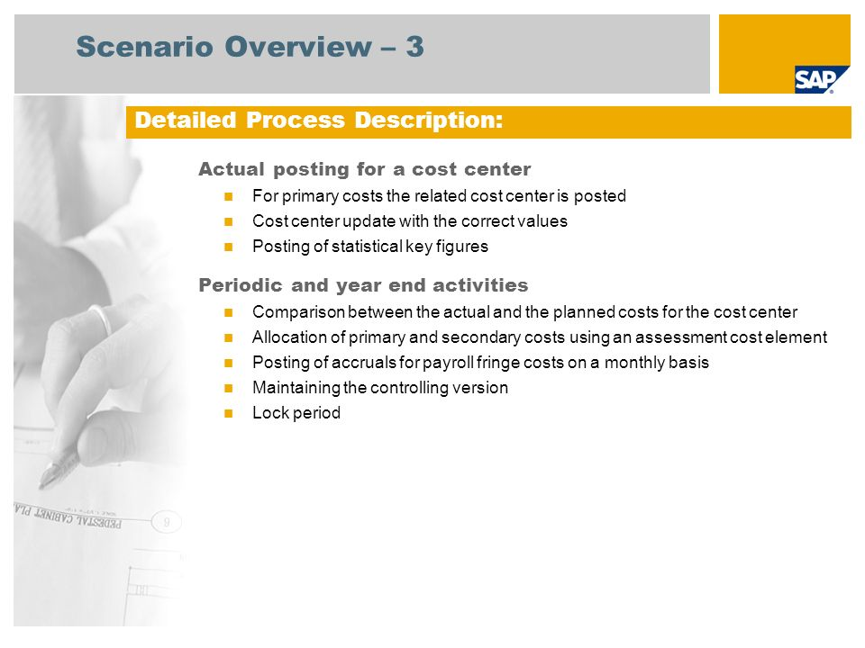 Scenario Overview – 3 Actual posting for a cost center For primary costs the related cost center is posted Cost center update with the correct values