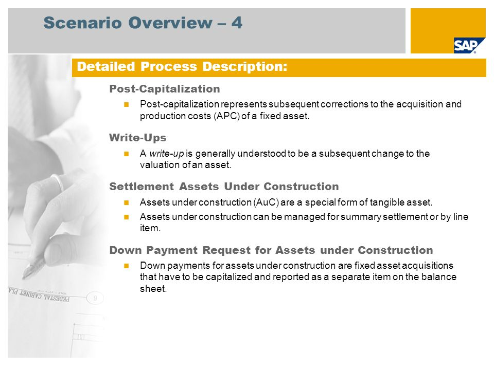 Scenario Overview – 5 Depreciation Posting Run The depreciation posting should be run periodically because the depreciation accounts are not updated immediately.