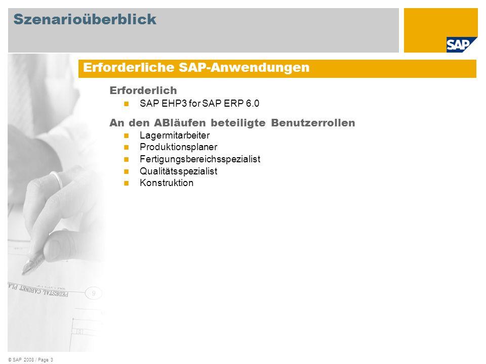 © SAP 2008 / Page 3 Erforderlich SAP EHP3 for SAP ERP 6.0 An den ABläufen beteiligte Benutzerrollen Lagermitarbeiter Produktionsplaner Fertigungsberei