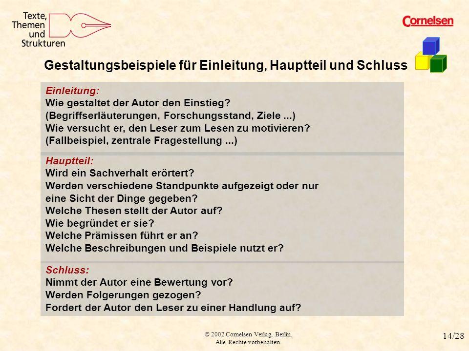 © 2002 Cornelsen Verlag, Berlin. Alle Rechte vorbehalten. 14/28 Schluss: Nimmt der Autor eine Bewertung vor? Werden Folgerungen gezogen? Fordert der A