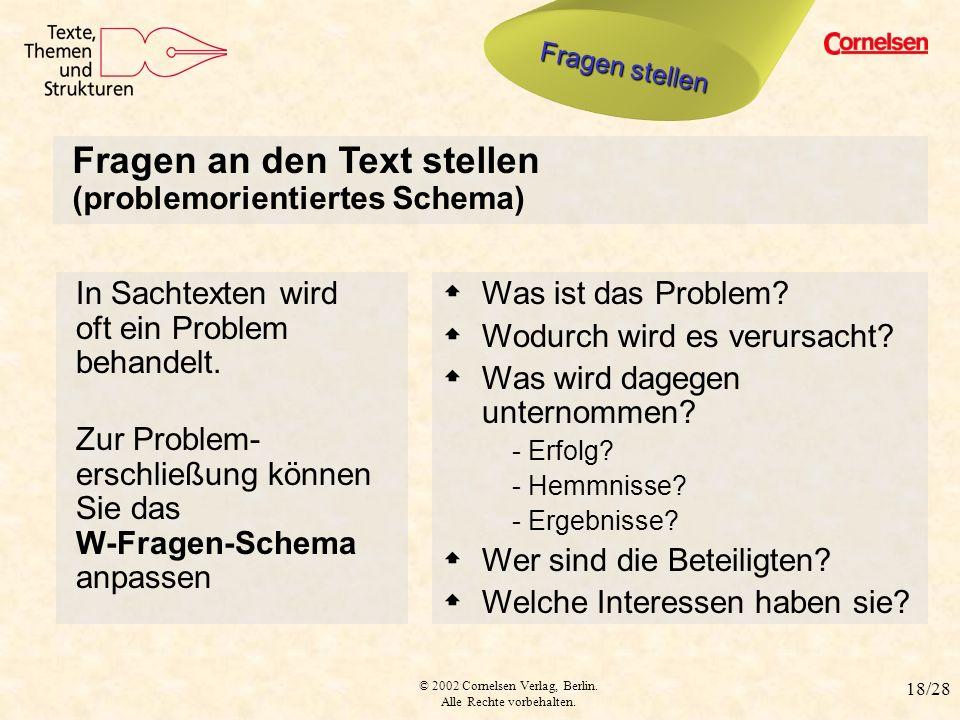 © 2002 Cornelsen Verlag, Berlin. Alle Rechte vorbehalten. 18/28 Fragen stellen 2 Fragen an den Text stellen (problemorientiertes Schema) Was ist das P