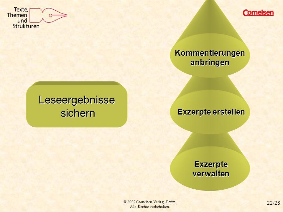 © 2002 Cornelsen Verlag, Berlin. Alle Rechte vorbehalten. 22/28 Exzerpte verwalten Exzerpte erstellen LESEERGEBNISSE SICHERN Leseergebnisse sichern Le