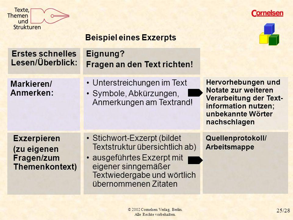 © 2002 Cornelsen Verlag, Berlin. Alle Rechte vorbehalten. 25/28 Muster für Exzerpt Beispiel eines Exzerpts Exzerpieren (zu eigenen Fragen/zum Themenko