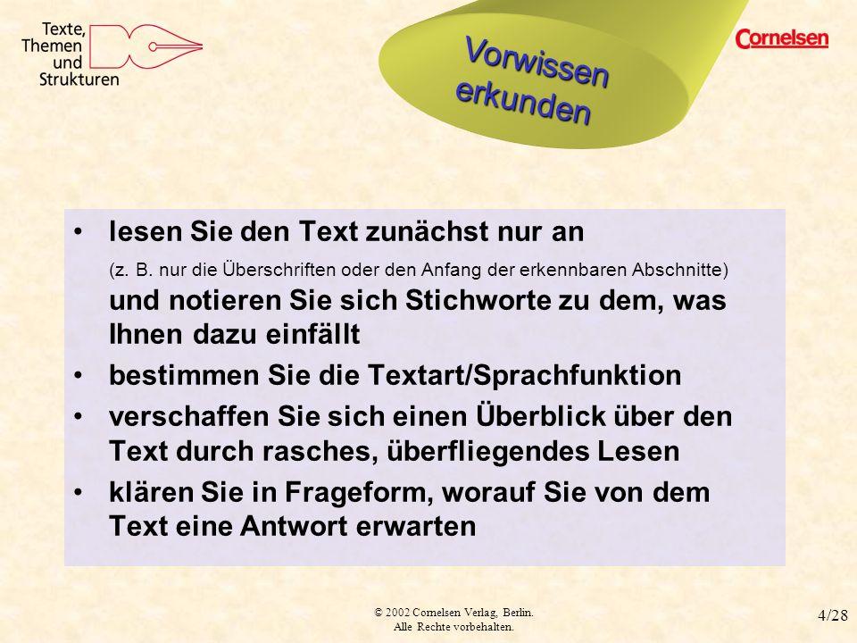 © 2002 Cornelsen Verlag, Berlin. Alle Rechte vorbehalten. 4/28 Vorwissen erkunden lesen Sie den Text zunächst nur an (z. B. nur die Überschriften oder