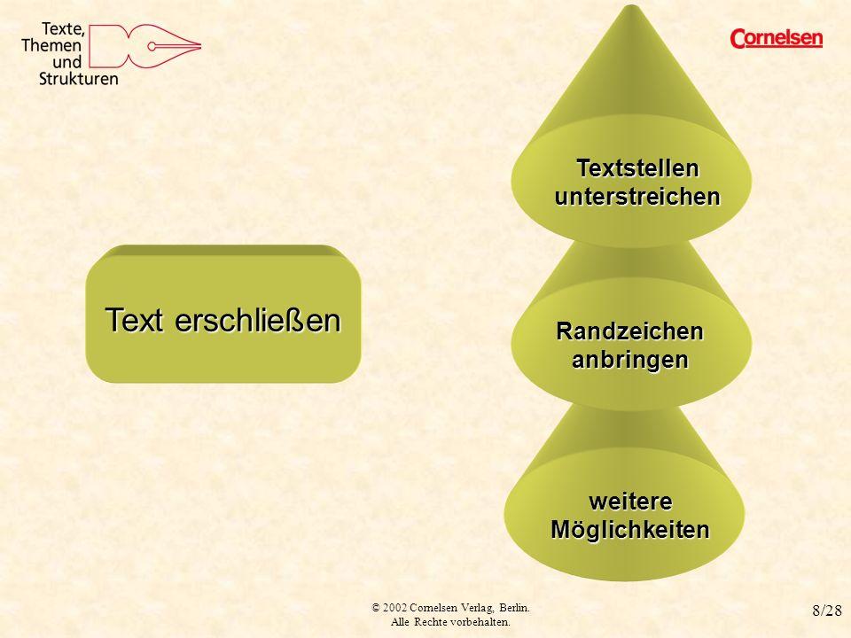 © 2002 Cornelsen Verlag, Berlin. Alle Rechte vorbehalten. 8/28 weitere Möglichkeiten Text erschließen Text erschließen Randzeichen anbringen Textstell