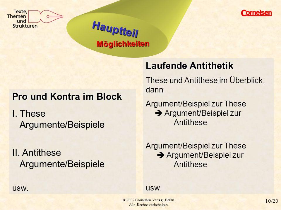 © 2002 Cornelsen Verlag, Berlin. Alle Rechte vorbehalten. 10/20 Hauptteil Möglichkeiten Hauptteil Pro und Kontra im Block I. These Argumente/Beispiele