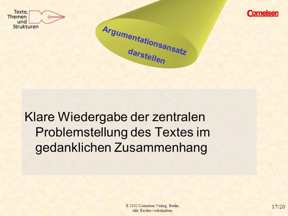 © 2002 Cornelsen Verlag, Berlin. Alle Rechte vorbehalten. 17/20 Argumentationsansatz Klare Wiedergabe der zentralen Problemstellung des Textes im geda