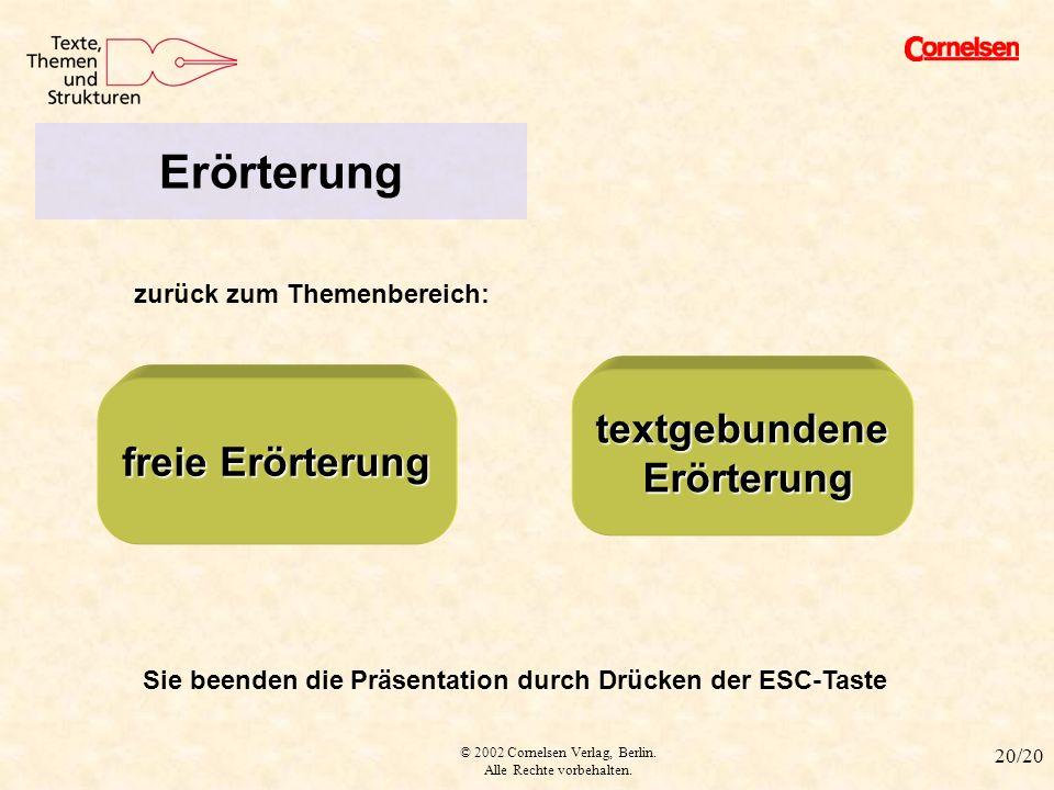 © 2002 Cornelsen Verlag, Berlin. Alle Rechte vorbehalten. 20/20 Verweis Erörterung zurück zum Themenbereich: textgebundene Erörterung Erörterung freie