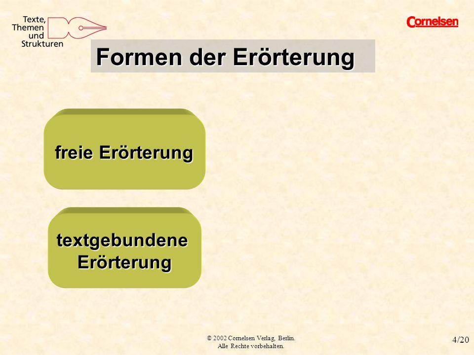 © 2002 Cornelsen Verlag, Berlin. Alle Rechte vorbehalten. 4/20 Formen der Erörterung freie Erörterung freie Erörterung textgebundene Erörterung textge