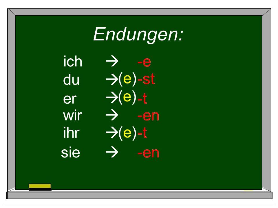 Endungen: ich -e er -t wir -en ihr -t sie -en du -st (e)(e) (e)(e) (e)(e)