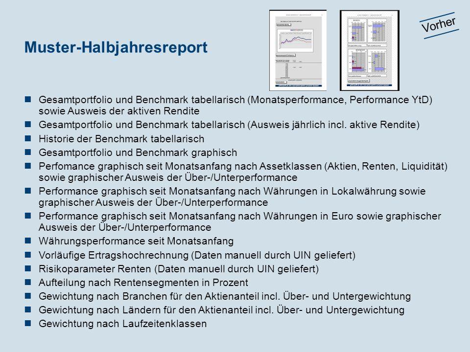 Muster-Halbjahresreport Gesamtportfolio und Benchmark tabellarisch (Monatsperformance, Performance YtD) sowie Ausweis der aktiven Rendite Gesamtportfo