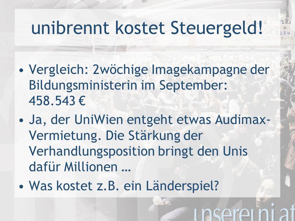 unibrennt kostet Steuergeld! Vergleich: 2wöchige Imagekampagne der Bildungsministerin im September: 458.543 Ja, der UniWien entgeht etwas Audimax- Ver
