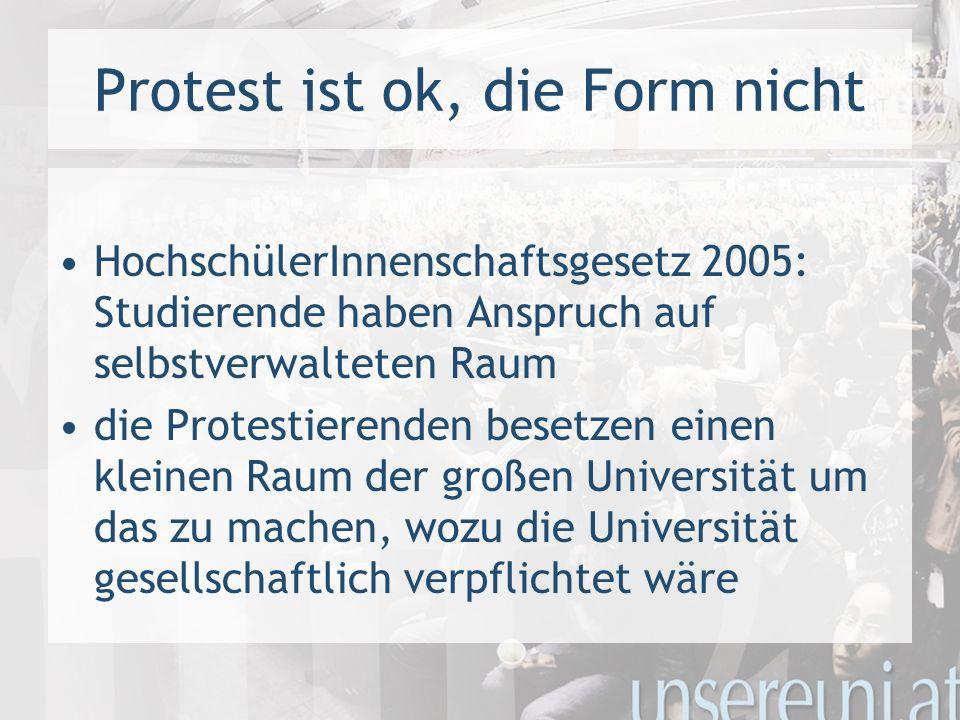 Protest ist ok, die Form nicht HochschülerInnenschaftsgesetz 2005: Studierende haben Anspruch auf selbstverwalteten Raum die Protestierenden besetzen