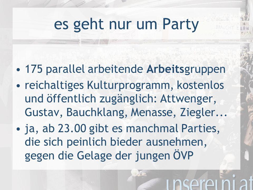 es geht nur um Party 175 parallel arbeitende Arbeitsgruppen reichaltiges Kulturprogramm, kostenlos und öffentlich zugänglich: Attwenger, Gustav, Bauch