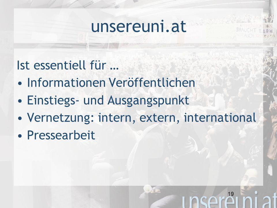 19 unsereuni.at Ist essentiell für … Informationen Veröffentlichen Einstiegs- und Ausgangspunkt Vernetzung: intern, extern, international Pressearbeit
