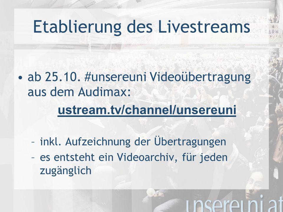 Etablierung des Livestreams ab 25.10.