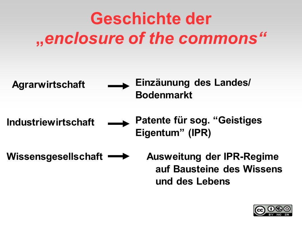 Geschichte derenclosure of the commons Agrarwirtschaft Industriewirtschaft Wissensgesellschaft Einzäunung des Landes/ Bodenmarkt Ausweitung der IPR-Re