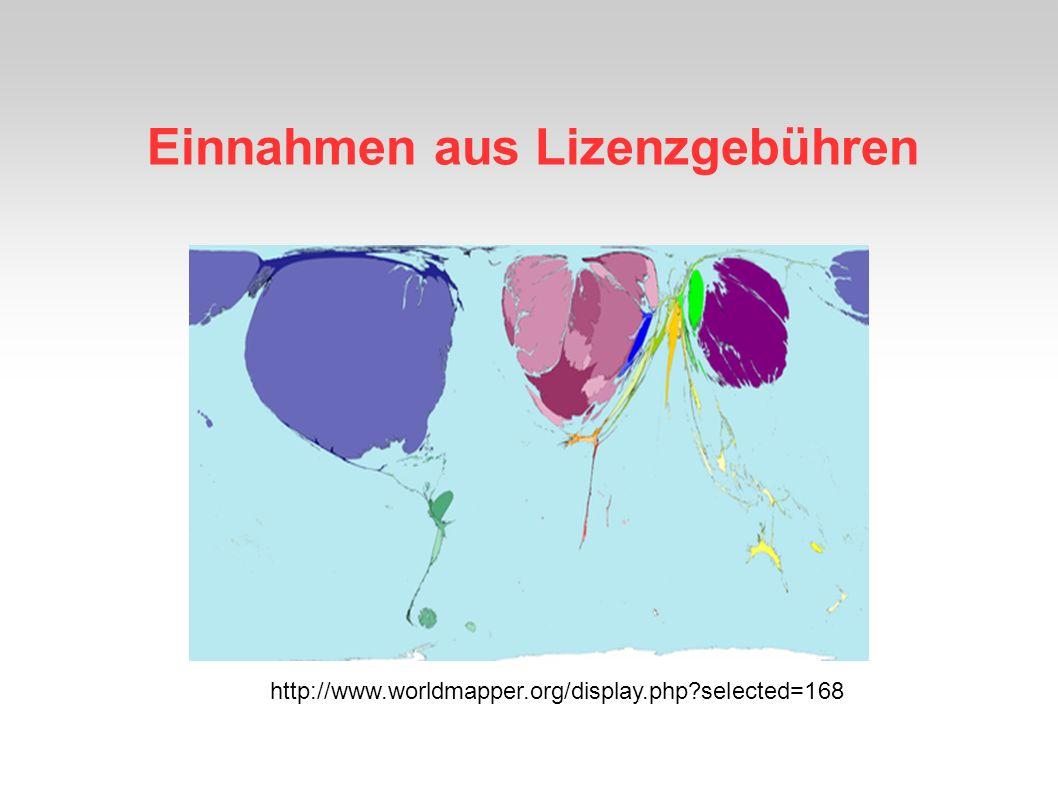 Einnahmen aus Lizenzgebühren http://www.worldmapper.org/display.php?selected=168