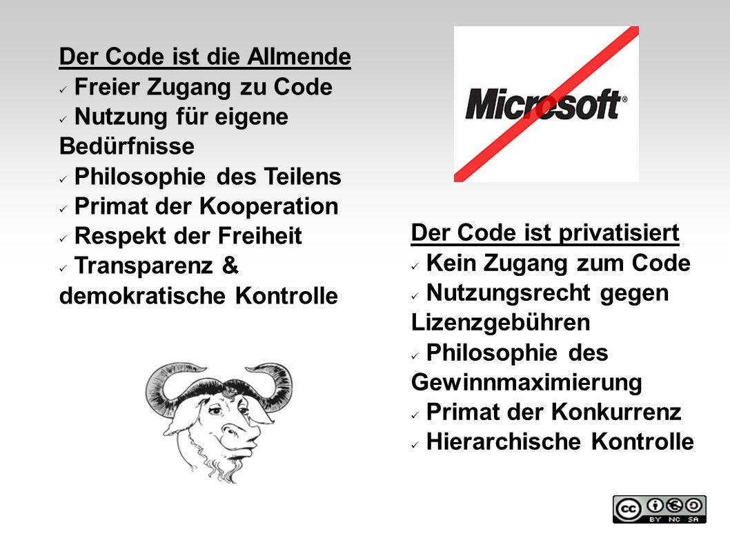 Der Code ist die Allmende Freier Zugang zu Code Nutzung für eigene Bedürfnisse Philosophie des Teilens Primat der Kooperation Respekt der Freiheit Tra