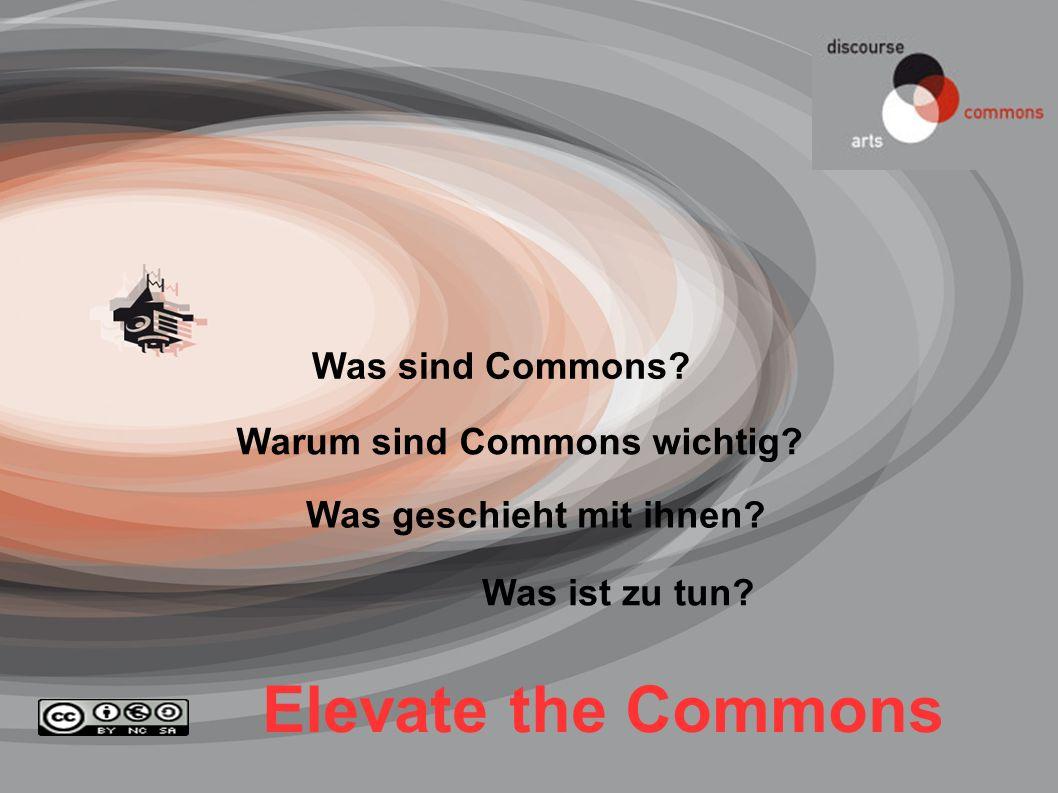 Elevate the Commons Warum sind Commons wichtig? Was geschieht mit ihnen? Was ist zu tun? Was sind Commons?