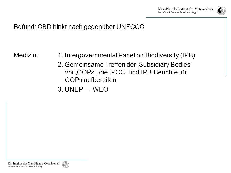 Befund: CBD hinkt nach gegenüber UNFCCC Medizin:1.