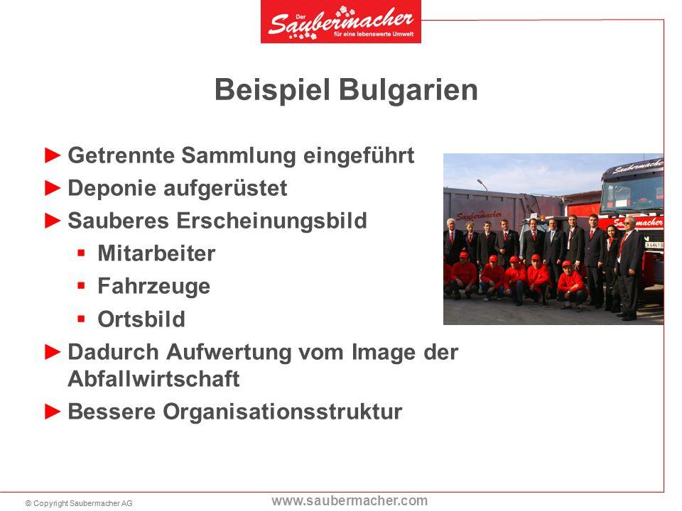 © Copyright Saubermacher AG www.saubermacher.com Beispiel Bulgarien Getrennte Sammlung eingeführt Deponie aufgerüstet Sauberes Erscheinungsbild Mitarb