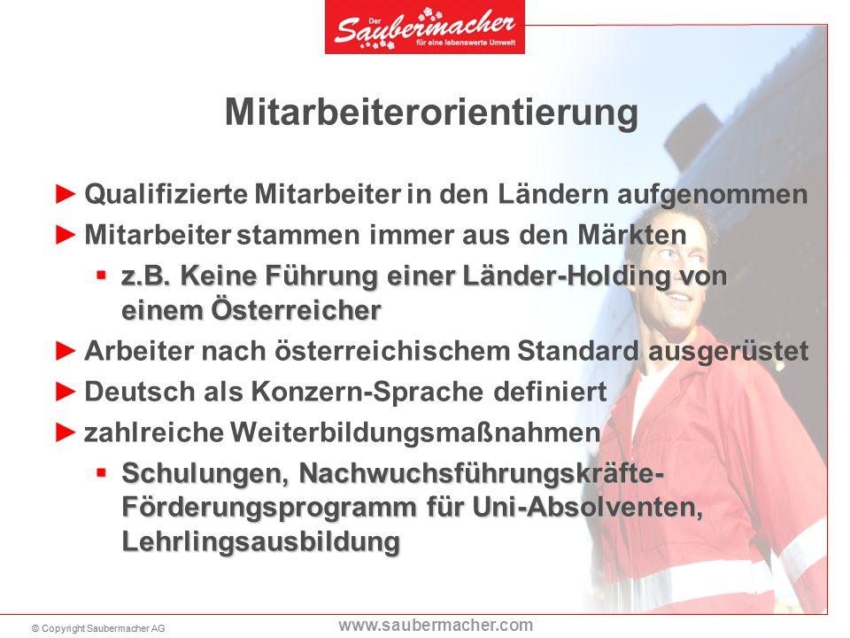 © Copyright Saubermacher AG www.saubermacher.com Qualifizierte Mitarbeiter in den Ländern aufgenommen Mitarbeiter stammen immer aus den Märkten z.B.