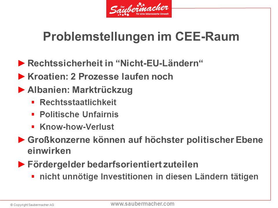 © Copyright Saubermacher AG www.saubermacher.com Problemstellungen im CEE-Raum Rechtssicherheit in Nicht-EU-Ländern Kroatien: 2 Prozesse laufen noch A