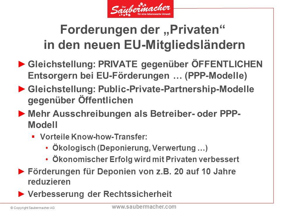 © Copyright Saubermacher AG www.saubermacher.com Forderungen der Privaten in den neuen EU-Mitgliedsländern Gleichstellung: PRIVATE gegenüber ÖFFENTLIC