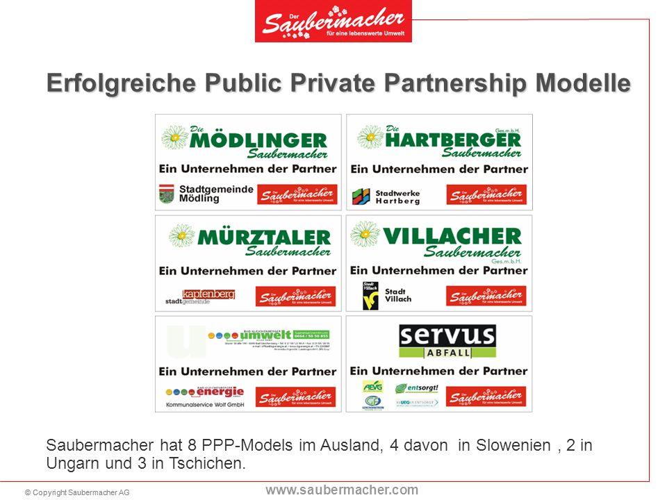 © Copyright Saubermacher AG www.saubermacher.com Erfolgreiche Public Private Partnership Modelle Saubermacher hat 8 PPP-Models im Ausland, 4 davon in Slowenien, 2 in Ungarn und 3 in Tschichen.