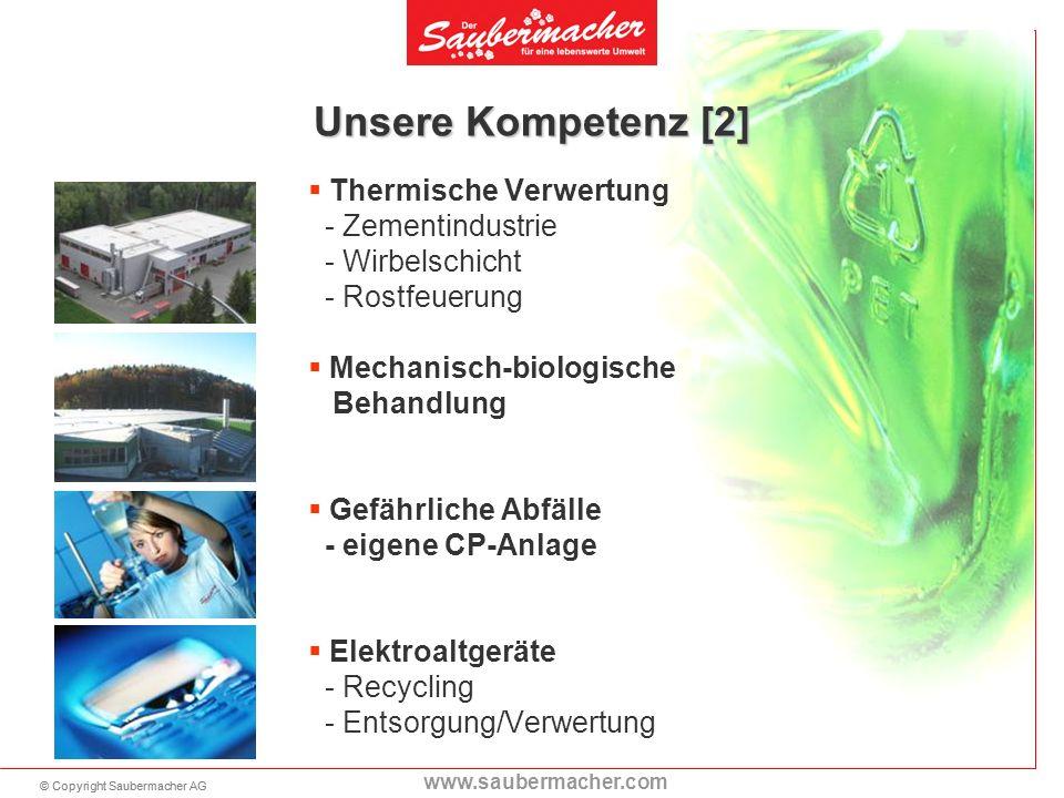 © Copyright Saubermacher AG www.saubermacher.com Unsere Kompetenz [2] Thermische Verwertung - Zementindustrie - Wirbelschicht - Rostfeuerung Mechanisc