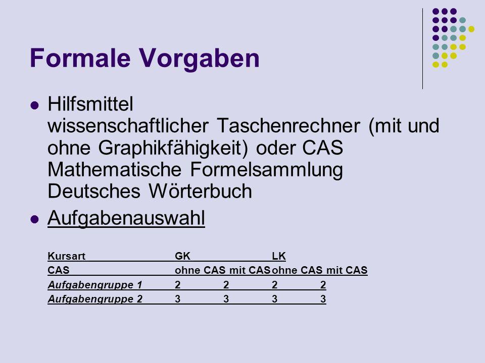 Formale Vorgaben Hilfsmittel wissenschaftlicher Taschenrechner (mit und ohne Graphikfähigkeit) oder CAS Mathematische Formelsammlung Deutsches Wörterb