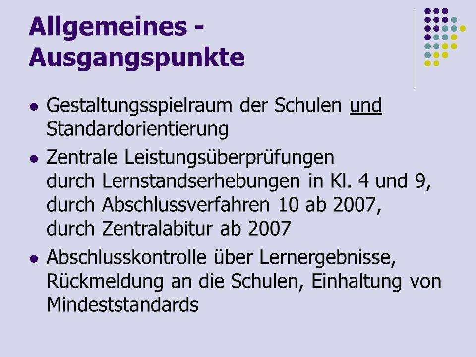 Allgemeines - Nächste Schritte im Überblick bis 21.10.2005Rückmeldungen zu den Beispielaufgaben ans Ministerium Oktober 20052.