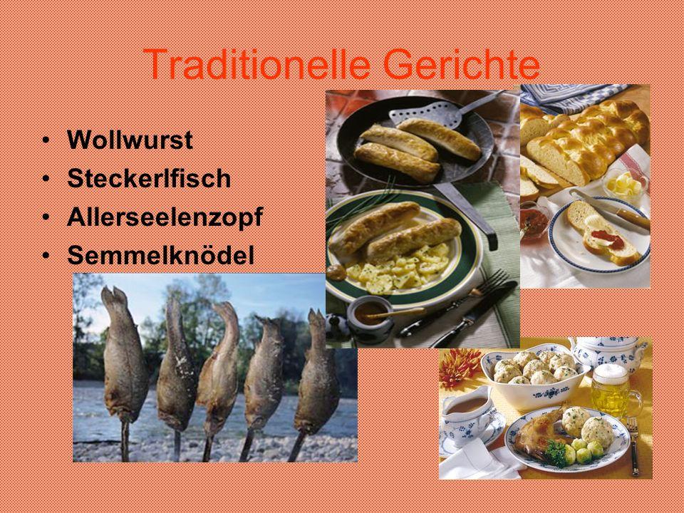 Traditionelle Gerichte Wollwurst Steckerlfisch Allerseelenzopf Semmelknödel