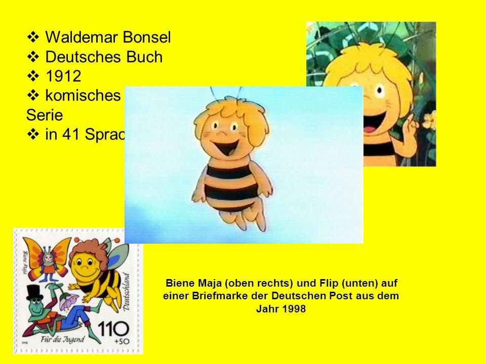 Biene Maja (oben rechts) und Flip (unten) auf einer Briefmarke der Deutschen Post aus dem Jahr 1998 Waldemar Bonsel Deutsches Buch 1912 komisches Buch
