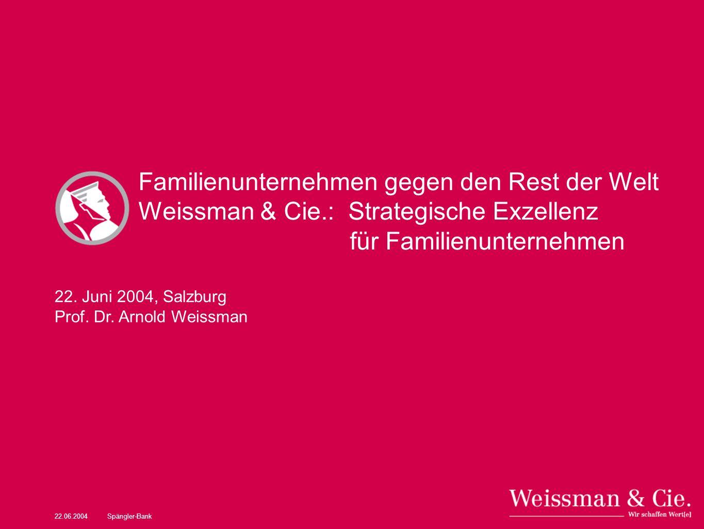 22.06.2004Spängler-Bank Familienunternehmen gegen den Rest der Welt Weissman & Cie.: Strategische Exzellenz für Familienunternehmen 22. Juni 2004, Sal