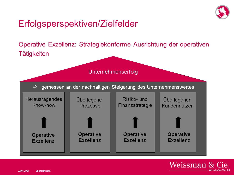 22.06.2004Spängler-Bank Erfolgsperspektiven/Zielfelder Operative Exzellenz: Strategiekonforme Ausrichtung der operativen Tätigkeiten Unternehmenserfol