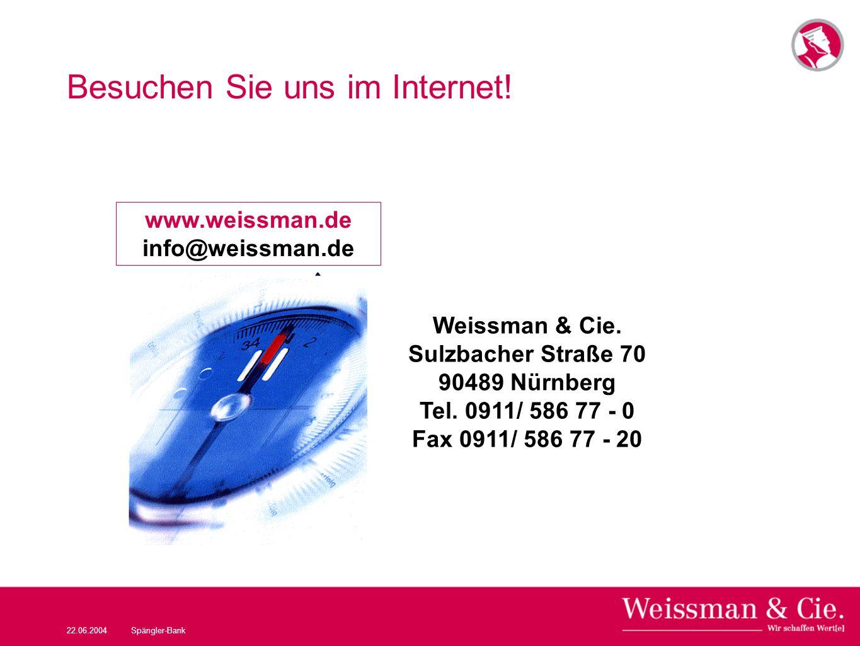 22.06.2004Spängler-Bank Besuchen Sie uns im Internet! www.weissman.de info@weissman.de Weissman & Cie. Sulzbacher Straße 70 90489 Nürnberg Tel. 0911/