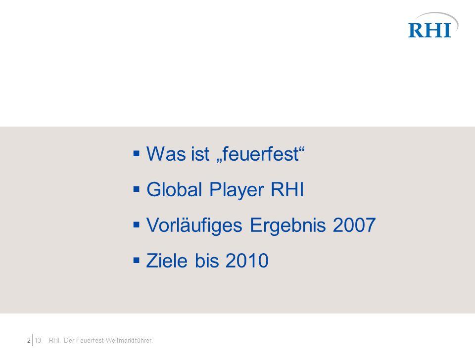 132 RHI. Der Feuerfest-Weltmarktführer. Was ist feuerfest Global Player RHI Vorläufiges Ergebnis 2007 Ziele bis 2010