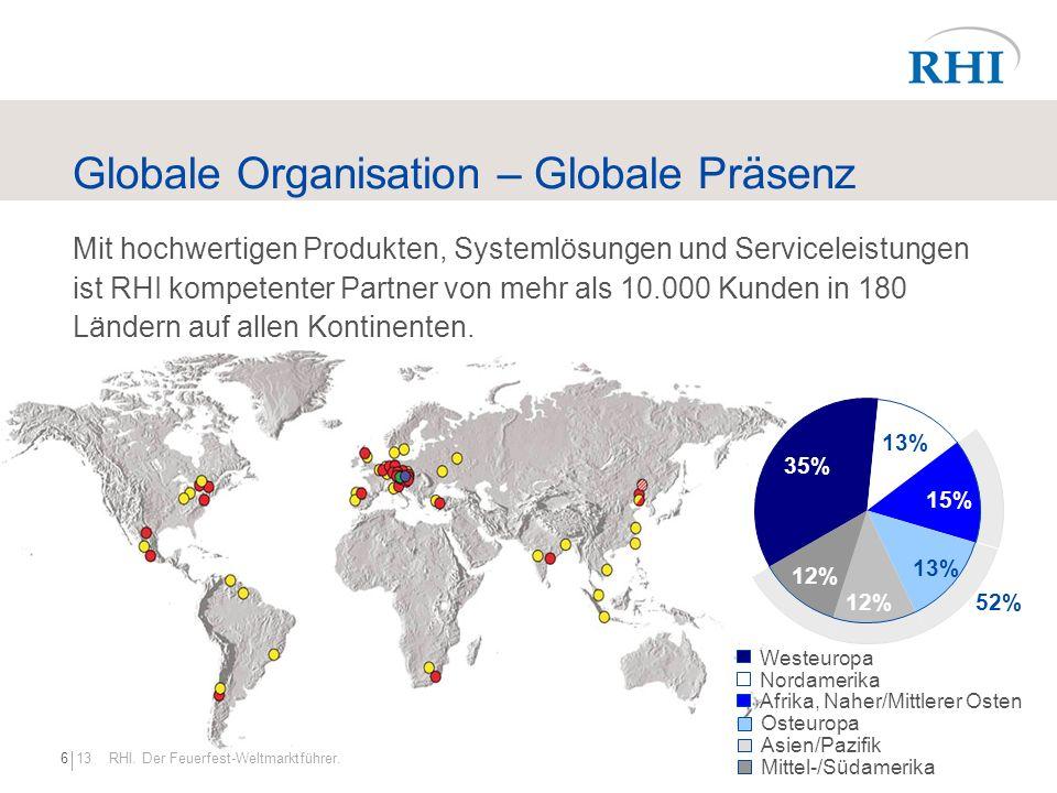 136 RHI. Der Feuerfest-Weltmarktführer. Globale Organisation – Globale Präsenz Mit hochwertigen Produkten, Systemlösungen und Serviceleistungen ist RH