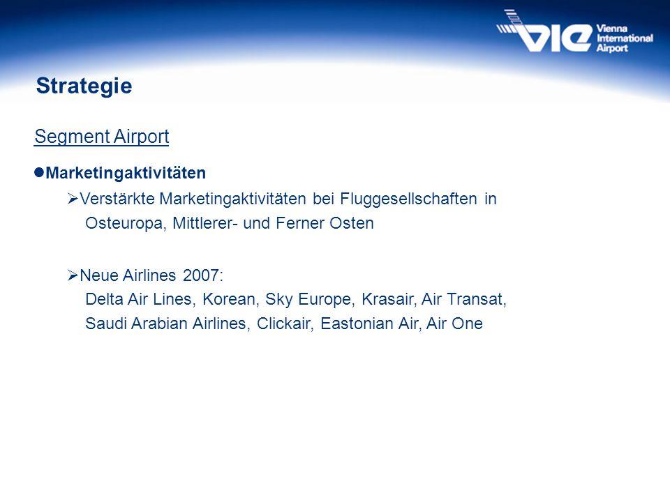 Strategie Segment Airport Marketingaktivitäten Verstärkte Marketingaktivitäten bei Fluggesellschaften in Osteuropa, Mittlerer- und Ferner Osten Neue A