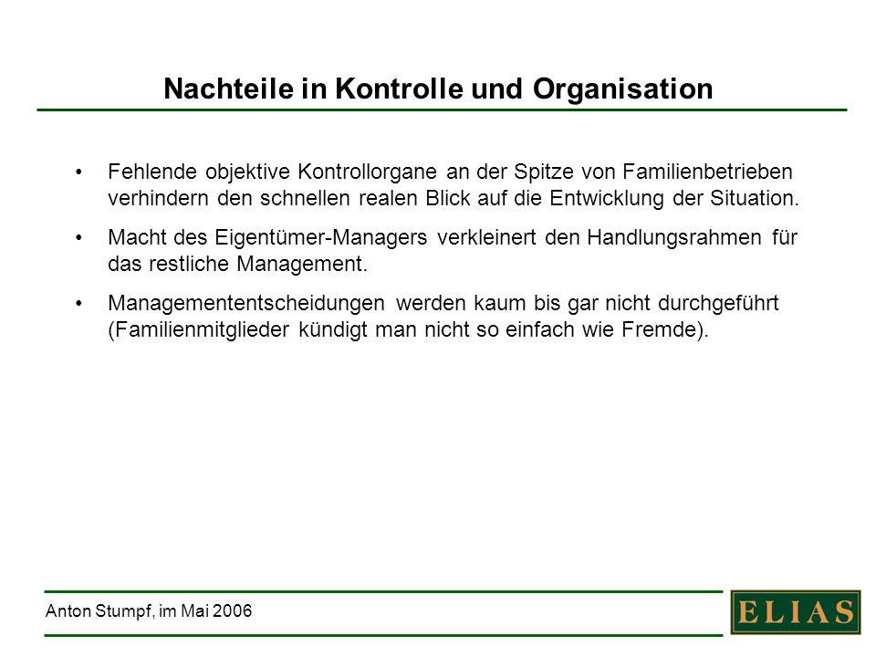 Anton Stumpf, im Mai 2006 Nachteile in Kontrolle und Organisation Fehlende objektive Kontrollorgane an der Spitze von Familienbetrieben verhindern den