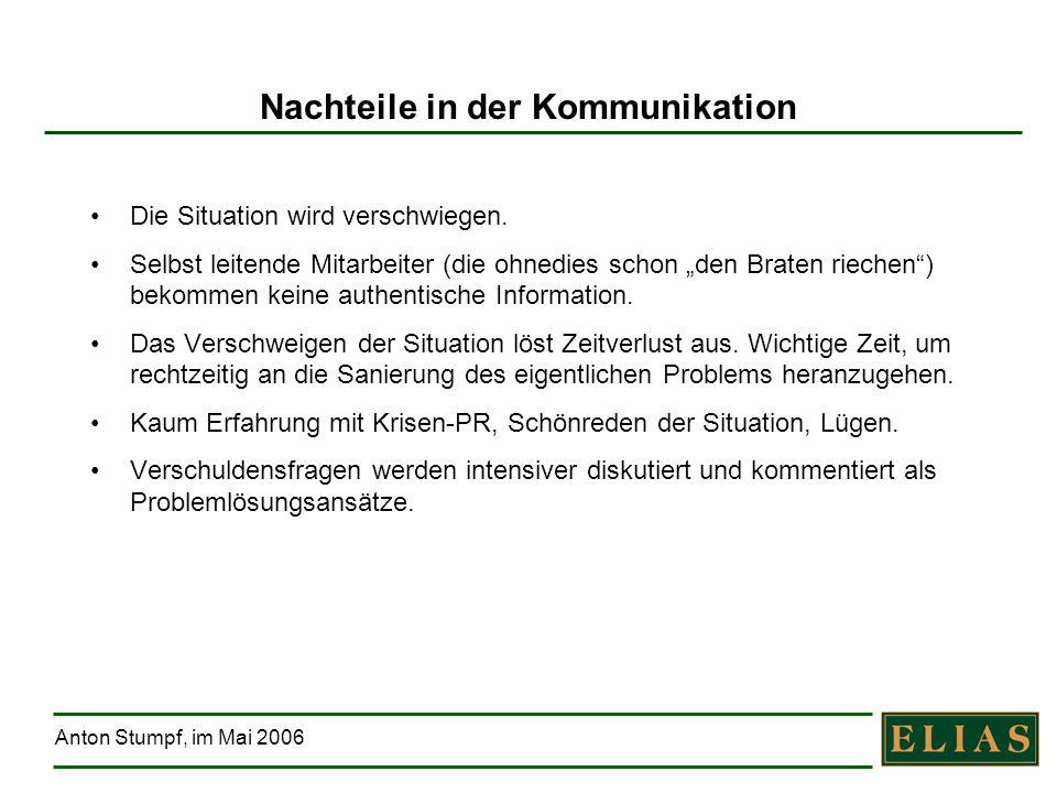 Anton Stumpf, im Mai 2006 Nachteile in der Kommunikation Die Situation wird verschwiegen. Selbst leitende Mitarbeiter (die ohnedies schon den Braten r