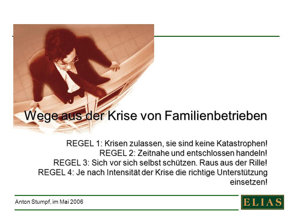 Anton Stumpf, im Mai 2006 Wege aus der Krise von Familienbetrieben REGEL 1: Krisen zulassen, sie sind keine Katastrophen! REGEL 2: Zeitnahe und entsch