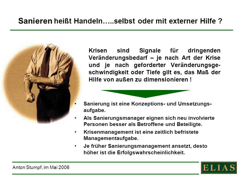 Anton Stumpf, im Mai 2006 Sanieren heißt Handeln…..selbst oder mit externer Hilfe ? Krisen sind Signale für dringenden Veränderungsbedarf – je nach Ar