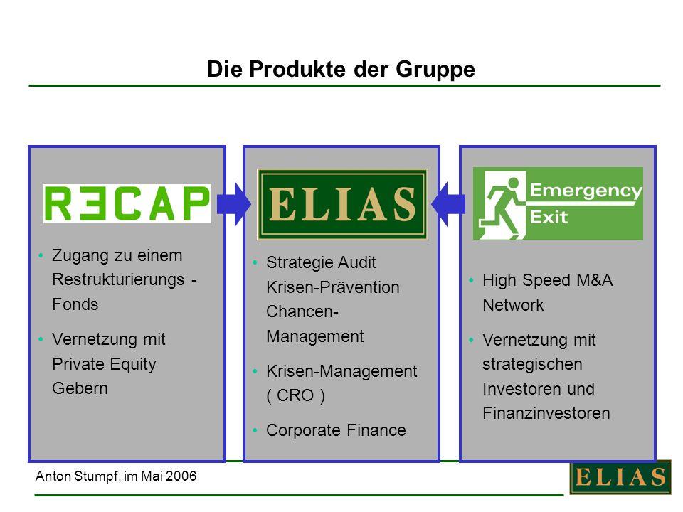 Anton Stumpf, im Mai 2006 Die Gruppe In der ELIAS-Gruppe arbeiten 15 Spezialisten konsequent für den Erfolg der Klienten in außergewöhnlichen Unternehmenssituationen.