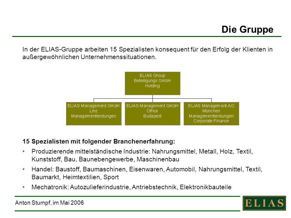 Anton Stumpf, im Mai 2006 17 Jahre Sanierungserfahrung – davon 12 mit ELIAS 190 Unternehmen begleitet Über 14.000 Arbeitsplätze erhalten Über 2,5 Mrd.