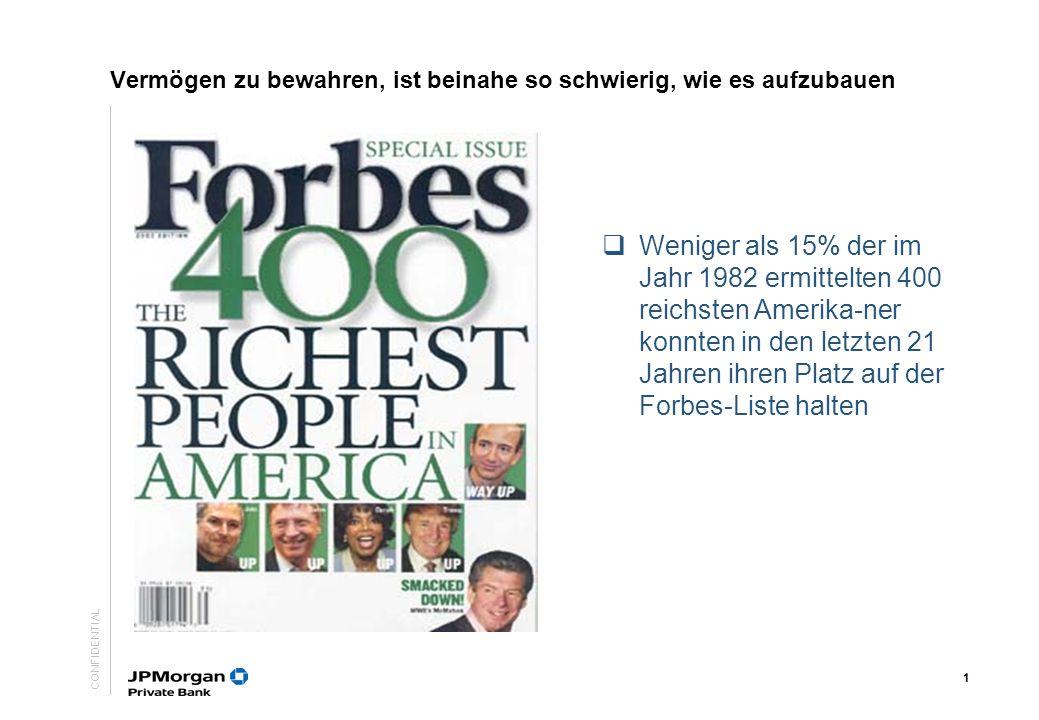 CONFIDENTIAL 1 Weniger als 15% der im Jahr 1982 ermittelten 400 reichsten Amerika-ner konnten in den letzten 21 Jahren ihren Platz auf der Forbes-Liste halten Vermögen zu bewahren, ist beinahe so schwierig, wie es aufzubauen